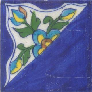 Half  Flowers Design with Blue color Base Tile