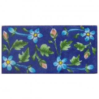 Turquoise Flower with Blue Tile