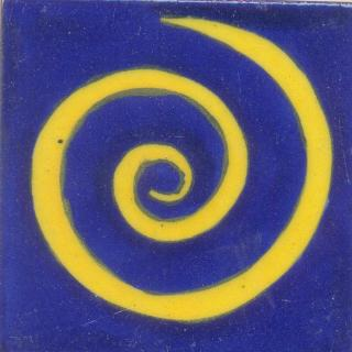 Yellow  Swirl with Blue Base Tile