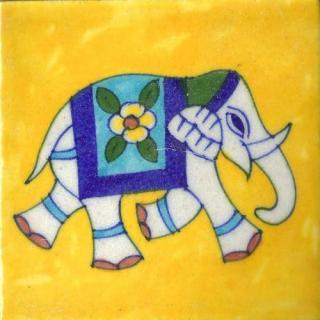 Elephant Design On Yellow Base Tile