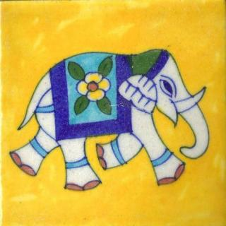 Elephant Design On Yellow Base Tile
