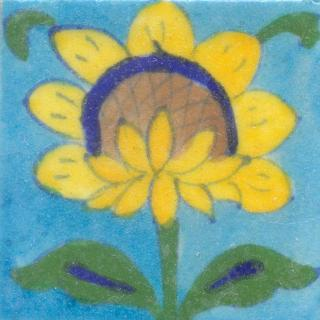 Yellow,Blue and Brown Flower and Green and Blue leaf with Turquoise Base Tile