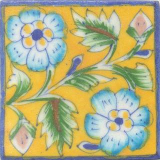 Turquoise,yellow and Blue Flowers and Lime Green leaf with Yellow Base Tile