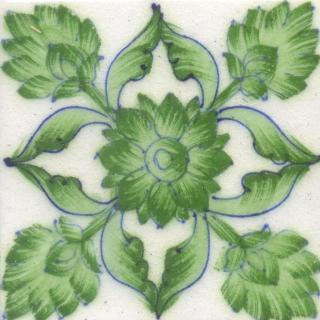 Lime Green Flowers and Leaf with White Base Tile