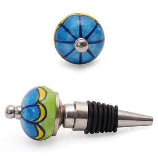 Turquoise and Green with line design wine bottle stoppers.