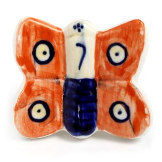 Orange and Blue Butterfly Ceramic knob