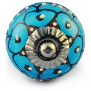 Turquoise Knob with white dots