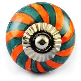 Dark Green and orange colour knob