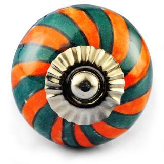 Dark Green and orange colour knob