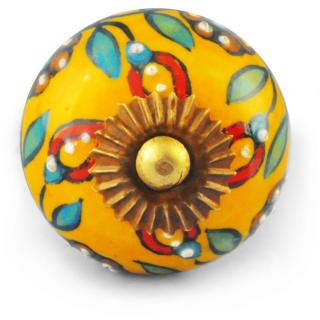 Turquoise, Red and Brown Flower design with Dark Yellow Knob