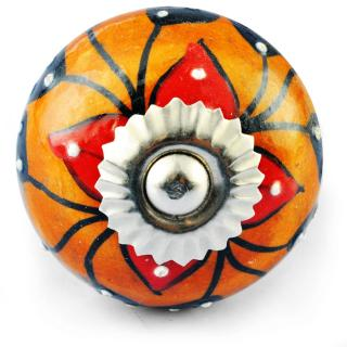 Black and Red Flower and white Embossed dots with Orange colour Knob