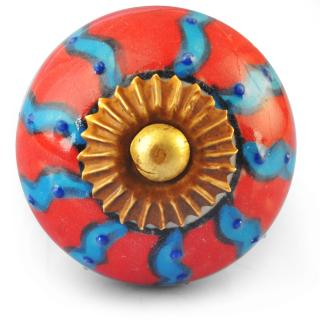 Turquoise and Red Ceramic Knob
