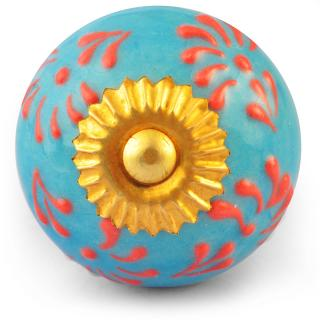 Orange and Turquoise Colour Ceramic Embossed Knob