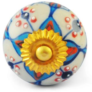 Turquoise,Orange and White Ceramic Knob