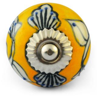 Yellow and White Ceramic Knob