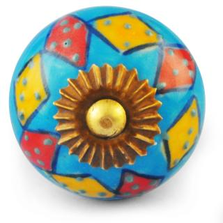 Red,Yellow and Turquoise Colour Ceramic Knob