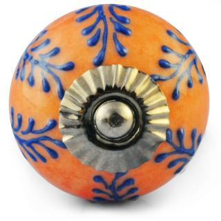 Blue Embossed Flower and Brown Ceramic knob