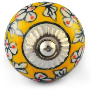 White Design with Yellow Colour Ceramic knob