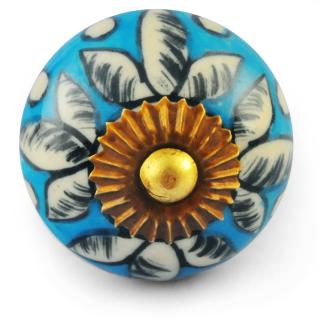 White design with Turquoise Colour Ceramic Knob