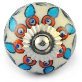Turquoise Red Flower design with White Colour Ceramic Knob