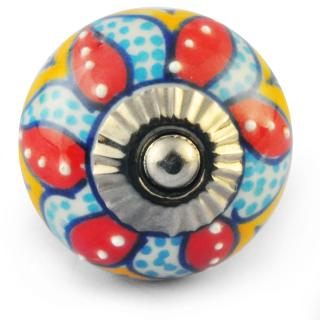 Multicolour Colour Flower Ceramic Knob