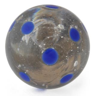 FGK-028-Clear knob with Blue Polka dots glass knob