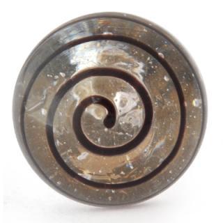 FGK-043-Clear knob with Black Swirl Glass knob