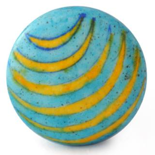 KN-737-A-Yellow and Turquoise Handpainted Knob