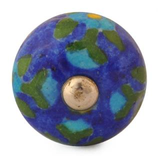 KNB-009-Turquoise Flowers and Green leaf with Blue Base Bead knob