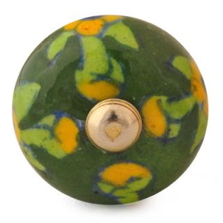 KNB-014-Yellow Flowers and Lime Green Leaf with Green Base Bead knob