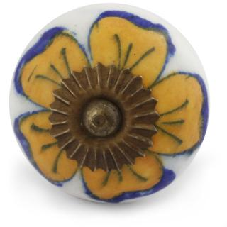 Yellow Flower on White Base Cabinet Knob