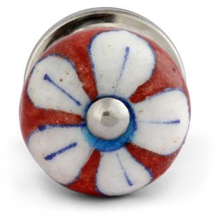 White Flower On Red Base Bead Knob Small