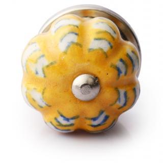 White Pattren Design On Yellow Base Knob