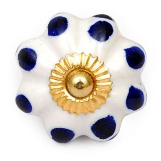 KPS-4461 - White Scalloped Ceramic Cabinet Knob with Blue Polka-Dots