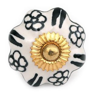 KPS-4463 - Small Black Flowers on a White Ceramic Cabinet Knob