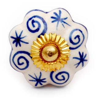 KPS-4465 - Blue Spiral Design on a White Ceramic Cabinet Knob
