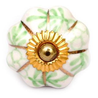 KPS-4542 Green Flowers and Leaves Cabinet Knob