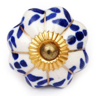 KPS-4543 - Blue Floral and Leaf Design on a White Ceramic Cabinet Knob