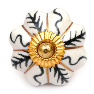 KPS-4544 - White Ceramic Cabinet Knob with Blue and Gold Design