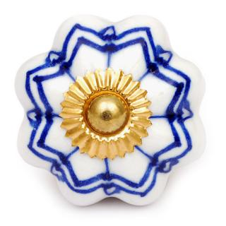 KPS-4546 - White Flower with Layered Blue Outline on a Ceramic Cabinet Knob