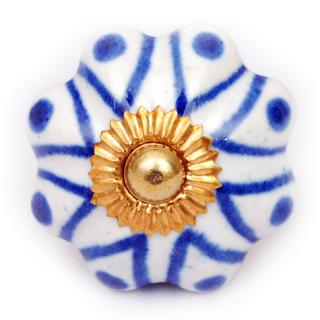 KPS-4547 - White and Blue Ceramic Cabinet Knob