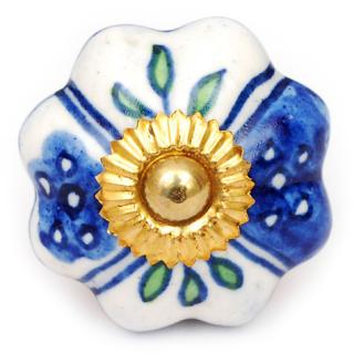 KPS-4549 - White Ceramic Cabinet Knob with Blue Design and Lime Green Leaves