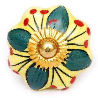 KPS-4551 - Green Flower with a Yellow Background on a White Ceramic Cabinet Knob