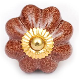 KPS-4552 - Brown Scalloped Ceramic Cabinet Knob