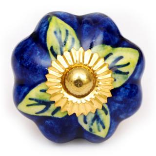 KPS-4553 - Green Leaves on a Blue Ceramic Cabinet Knob