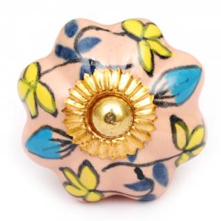 KPS-4554 - Yellow flower and Blue and Turquoise leaf and Pink Ceramic knob