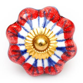 KPS-4558 - Red and White flower knob