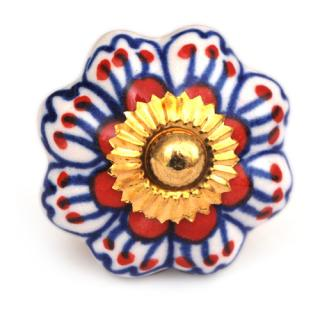 KPS-4467 - Red and Blue flower and White knob