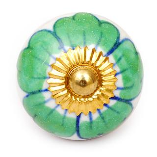 KPS-4582 - Green Flower with a Blue Outline on a White Ceramic Cabinet Knob