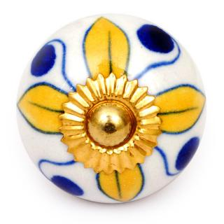 KPS-4583 - Yellow flower and Blue dots and White knob
